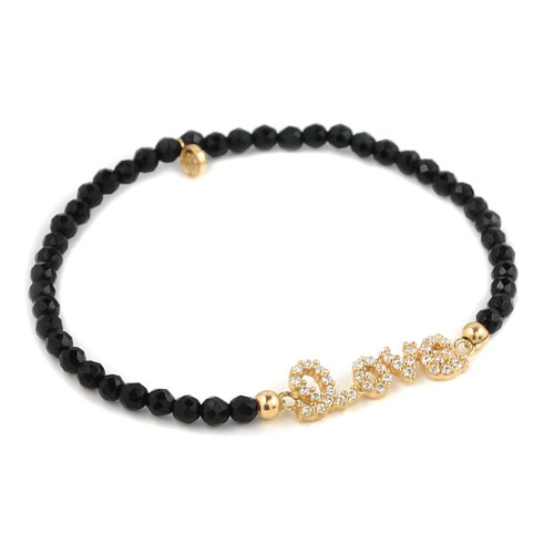 GOLD PLATED CZ LOVE MESSAGE WITH BLACK SPINEL BEADS STRETCH BRACELET