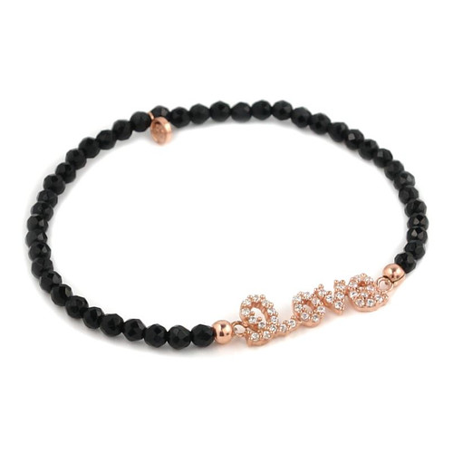 ROSE GOLD PLATED CZ LOVE MESSAGE WITH BLACK SPINEL BEADS STRETCH BRACELET