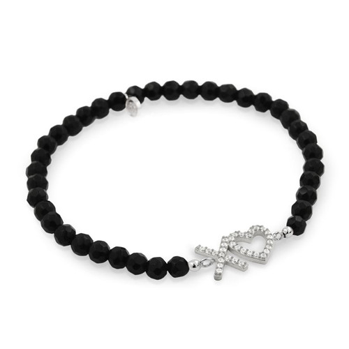 RHODIUM PLATED XO♥ HEART CZ AND BLACK ONYX STRETCH BRACELET