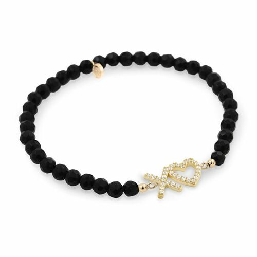 GOLD PLATED XO♥ HEART CZ AND BLACK ONYX STRETCH BRACELET