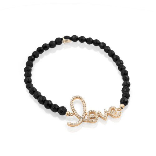 GOLD PLATED CURSIVE LOVE BLACK ONYX BEAD BRACELET