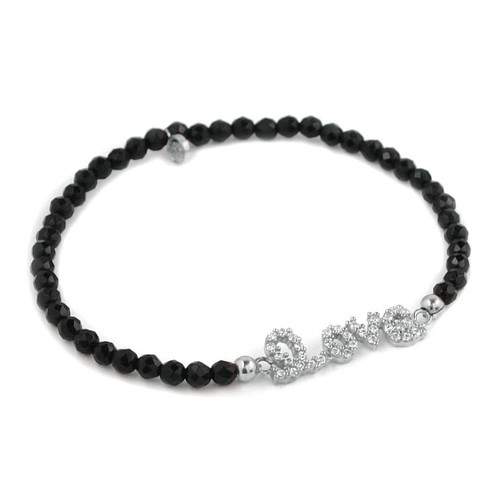 RHODIUM PLATED CZ LOVE MESSAGE WITH BLACK SPINEL BEADS STRETCH BRACELET