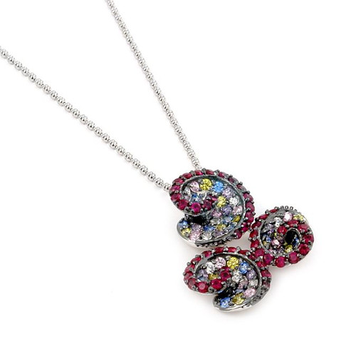 "FERRONI RED AND MULTI COLOR TRIPLE SWIRL 18"" NECKLACE WITH COLORED ZIRCONIA BY SWAROVSKI"