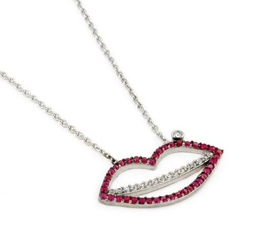 "LIP SHAPED CLEAR AND RED CZ NECKLACE 16""+1"" ADJUSTABLE"