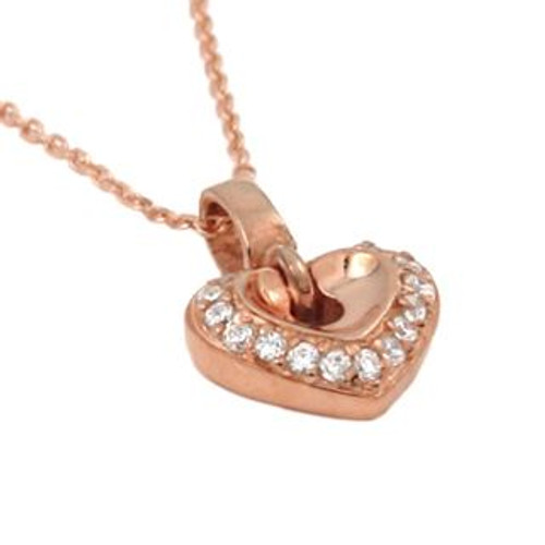 "ROSE GOLD PLATED SMALL HEART SHAPED CZ NECKLACE 16"" + 2"""
