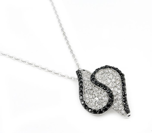 "S SHAPE PAVE BLACK AND WHITE NECKLACE 16""+1"""
