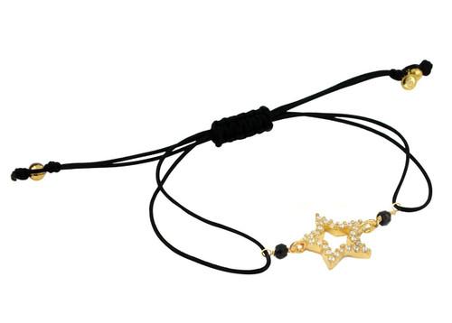 GOLD PLATED CZ STAR AND BLACK STRING CORD ADJUSTABLE BRACELET
