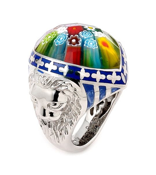 EXQUISITE COLLECTION FACETED MULTI COLOR MURANO GLASS MARQUISE RING WITH LION ACCENTS