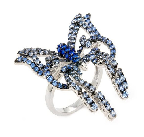 FERRONI DARK AND LIGHT BLUE BUTTERFLY RING WITH COLORED ZIRCONIA BY SWAROVSKI