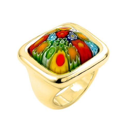 GOLD PLATED MURANO MILLEFIORI MULTICOLOR FACETED SQUARE RING WITH ELECTROFORM SILVER FRAME