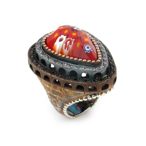 SIGNATURE COLLECTION FACETED RED MURANO GLASS PEAR RING WITH COPPER AND SIGNITY CZ ACCENTS