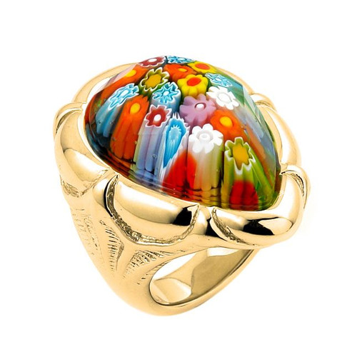 GOLD PLATED MURANO MILLEFIORI MULTICOLOR FACETED PEAR SHAPE RING WITH ELECTROFORM SILVER FRAME