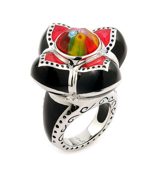EXQUISITE COLLECTION FACETED MULTI COLOR MURANO GLASS FLOWER RING