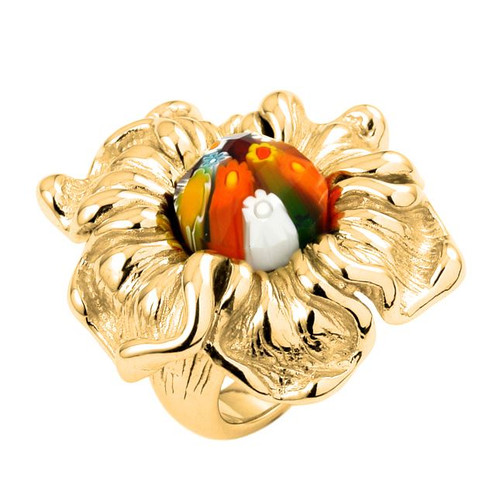 GOLD PLATED MULTICOLOR FACETED MURANO MILLEFIORI ELECTROFORM FLOWER RING