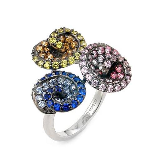FERRONI DARK AND LIGHT BLUE, PINK AND YELLOW TRIPLE SWIRL RING WITH COLORED ZIRCONIA BY SWAROVSKI