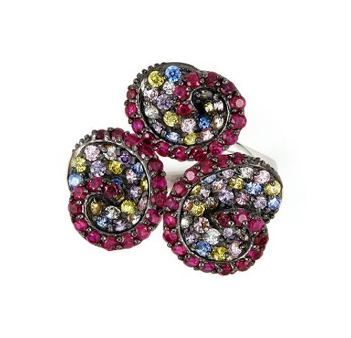 FERRONI RED AND MULTI COLOR TRIPLE SWIRL RING WITH COLORED ZIRCONIA BY SWAROVSKI