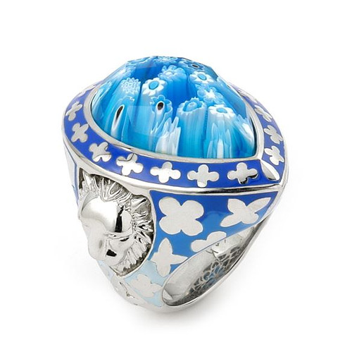 EXQUISITE COLLECTION FACETED BLUE MURANO GLASS DROP SHAPE RING WITH LION ACCENTS