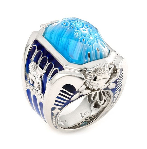 EXQUISITE COLLECTION FACETED LIGHT BLUE MURANO GLASS RECTANGLE RING WITH LION ACCENTS
