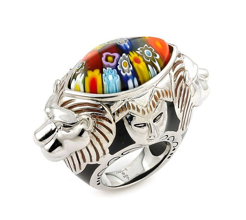 EXQUISITE COLLECTION FACETED MULTI COLOR MURANO GLASS MARQUISE RING WITH LION AND FACE ACCENTS