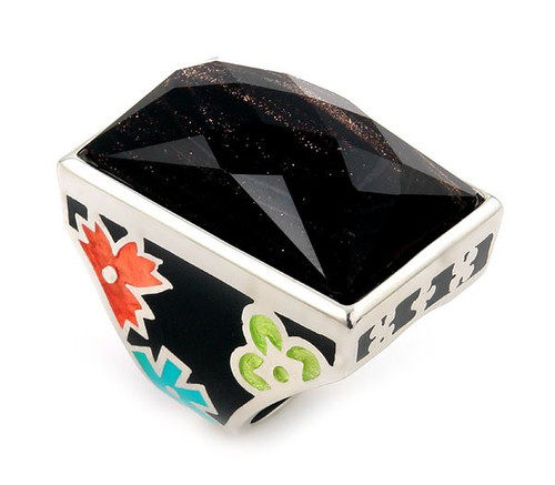 BLACK AND MULTI COLOR DESIGNO WIDE RING WITH BROWN CRYSTAL RECTANGULAR STONE