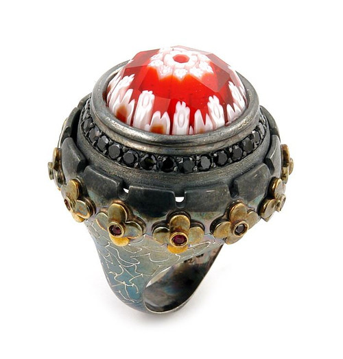 SIGNATURE COLLECTION FACETED RED MURANO GLASS ROUND RING WITH BRASS AND SIGNITY CZ ACCENTS