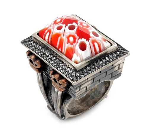SIGNATURE COLLECTION FACETED RED MURANO GLASS RECTANGLE RING W/ COPPER AND SIGNITY CZ ACCENTS