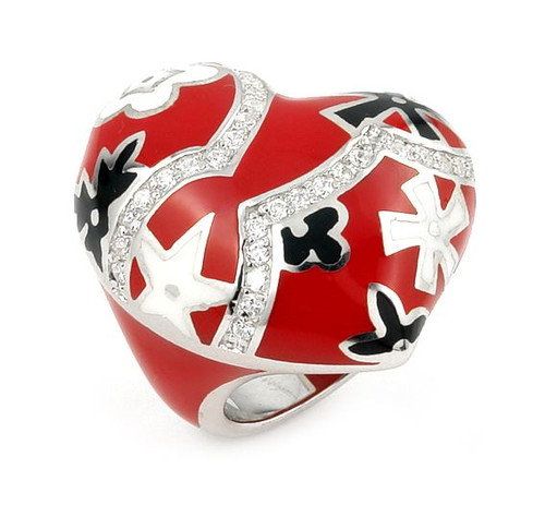 DESIGNO RED CURVED HEART  WITH CZ AND FLOWER ACCENTS