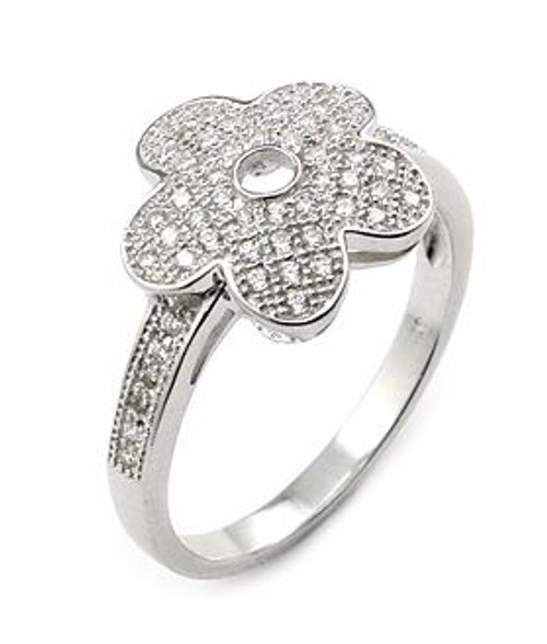 MICRO PAVE CZ FLOWER RING