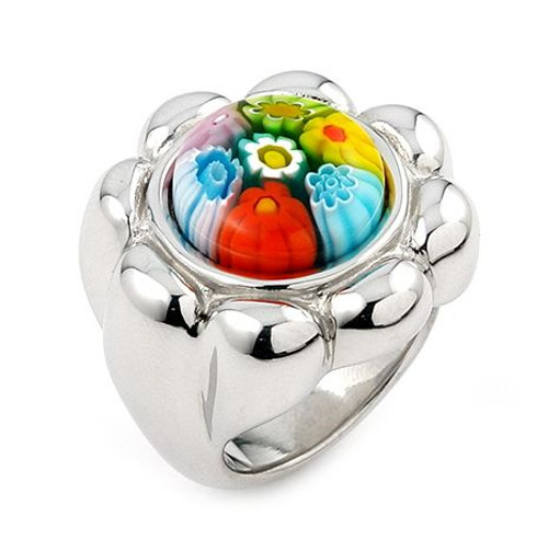 MURANO MILLEFIORI MULTICOLOR FLOWER RING WITH ELECTROFORM SILVER FRAME