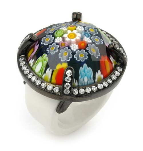 EXQUISITE COLLECTION FACETED MLT MURANO GLASS BLACK RHODIUM RING WITH HIGH QUALITY CZ MICROSETTING