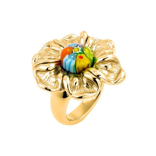 GOLD PLATED MULTICOLOR MURANO MILLEFIORI ELECTROFORM FLOWER RING