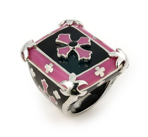 DESIGNO LARGE PINK AND BLACK CROSS RING