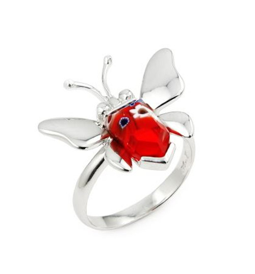 MURANO MILLEFIORI RED FACETED BUTTERFLY RING