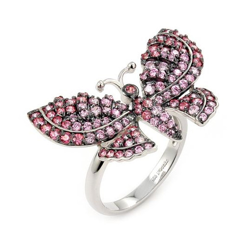 FERRONI DARK AND LIGHT PINK BUTTERFLY RING WITH COLORED ZIRCONIA BY SWAROVSKI