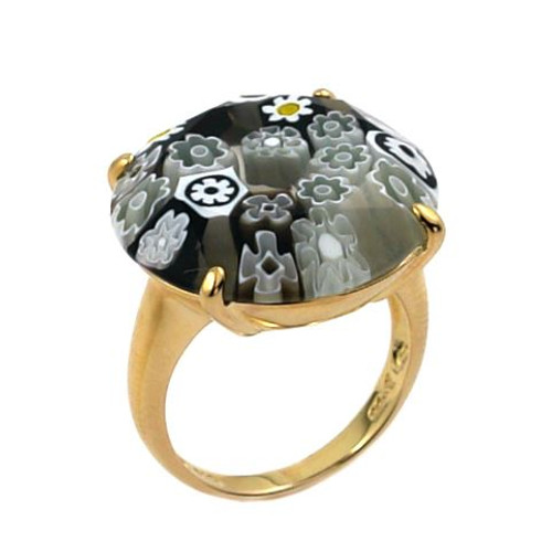 MURANO MILLEFIORI FACETED 22MM BLACK AND WHITE RING