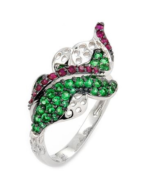 FERRONI GREEN AND RED LEAF RING WITH COLORED ZIRCONIA BY SWAROVSKI