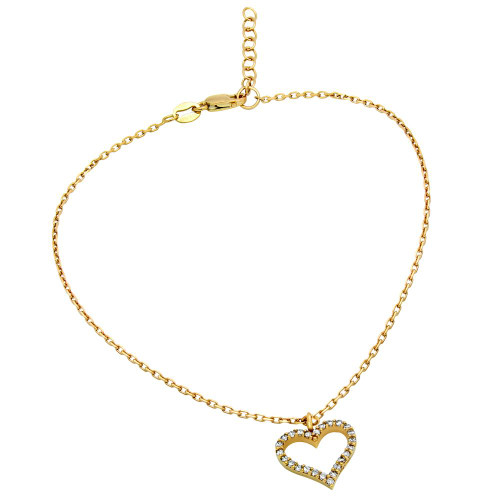 "GOLD PLATED CZ HEART ANKLET 9"" + 1"""