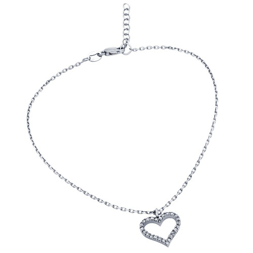 "RHODIUM PLATED CZ HEART ANKLET 9"" + 1"""