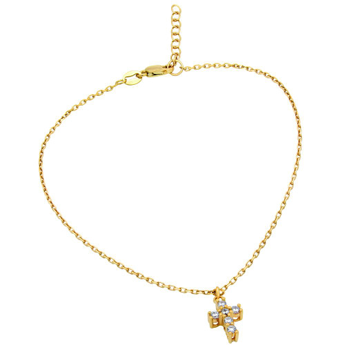 "GOLD PLATED SMALL CZ CROSS ANKLET 9"" + 1"""