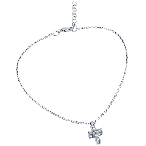 "RHODIUM PLATED SMALL CZ CROSS ANKLET 9"" + 1"""