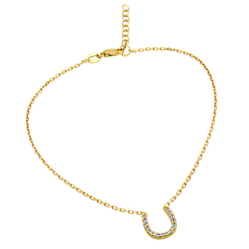 "GOLD PLATED CZ HORSESHOE ANKLET 9"" + 1"""