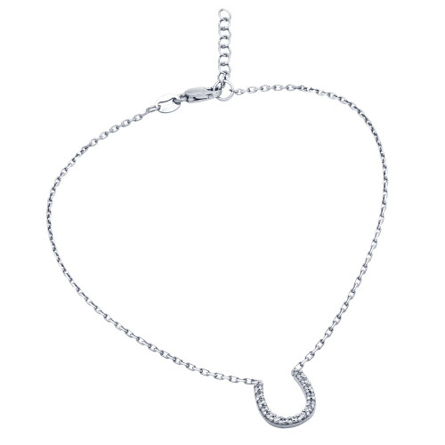 "RHODIUM PLATED CZ HORSESHOE ANKLET 9"" + 1"""