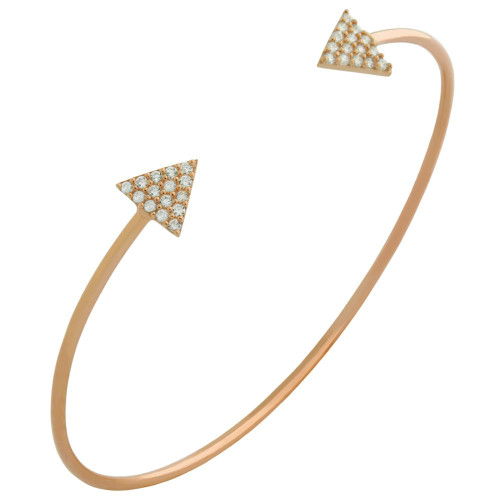 ROSE GOLD PLATED WIRE BANGLE WITH CZ TRANGLES