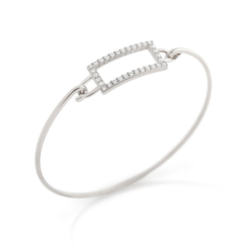 RHODIUM PLATED RECTANGLE CUT OUT DESIGN BANGLE WITH ALL AROUND CLEAR CZ STONES
