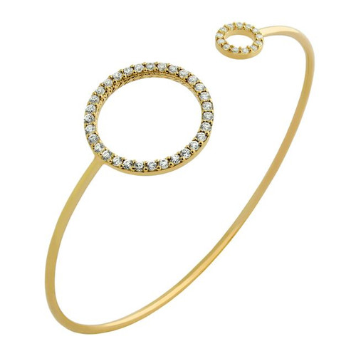 GOLD PLATED WIRE BANGLE WITH CZ ETERNITY CIRCLES
