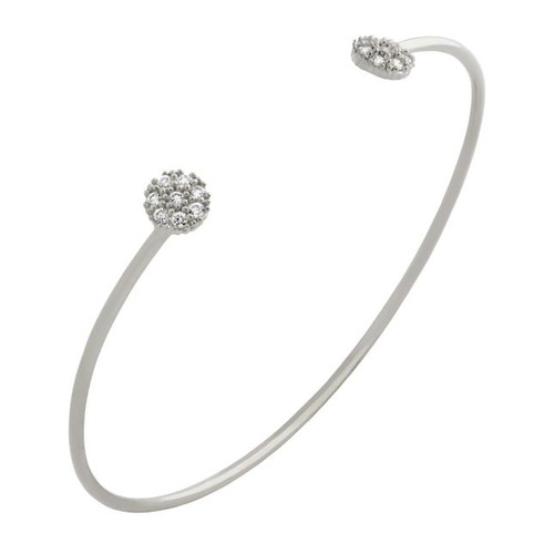 RHODIUM PLATED WIRE BANGLE WITH SMALL CZ DISKS