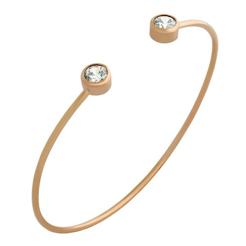 ROSE GOLD PLATED WIRE BANGLE WITH 5MM CZ ROUNDS