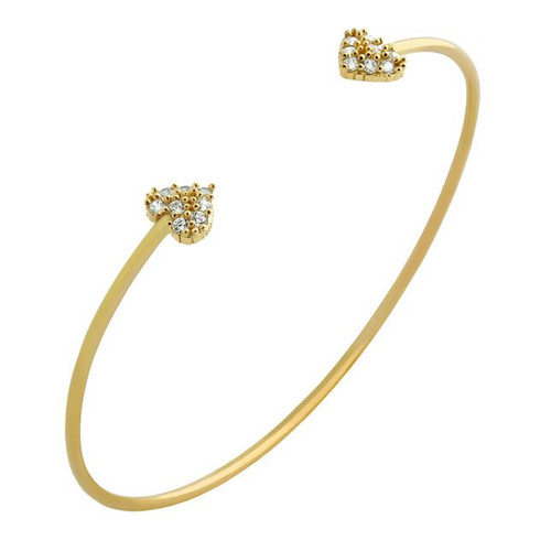 GOLD PLATED WIRE BANGLE WITH SMALL CZ HEARTS