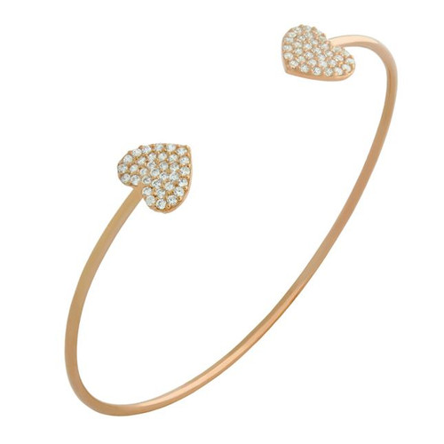 ROSE GOLD PLATED CZ DOUBLE HEART BANGLE