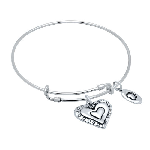 "STERLING SILVER EXPANDABLE BANGLE WITH HEART AND ""LOVE"" CHARMS"